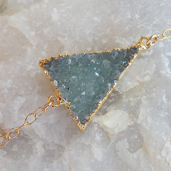 Druzy Triangle Bracelet 14 Karat Gold Mint Green Quartz Crystal Drusy - Free Shipping OOAK Jewelry