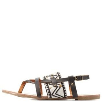 Black Studded Aztec Strappy Thong Sandals by Charlotte Russe