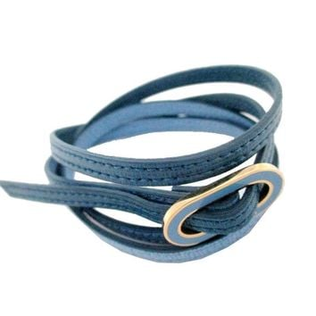 "Fendi ""Crayons"" Leather Bangle Bracelet Blue Leather 8AG313"