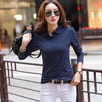 New Polo Women Long Sleeve Dot Casual Polo Shirt For Women Cotton Polos Mujer Casual Summer Tops Tees Ladies Polo