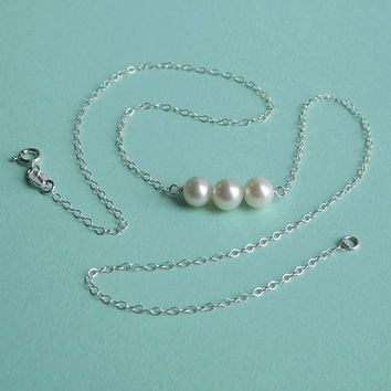 Freshwater Pearl Triplet and Sterling Silver by PaupersBounty