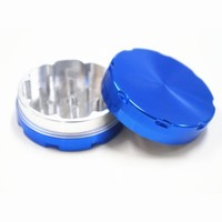 1.5 Inch Blue CNC Metal Herb Grinder 2 Parts and Tobacco Grinder Crusher Premium Quality Aluminium
