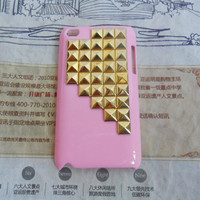 iPod touch 4 hand Case Cover with golden pyramoid stud for apple ipod touch 4 hard Case, ipod touch 4 case -126