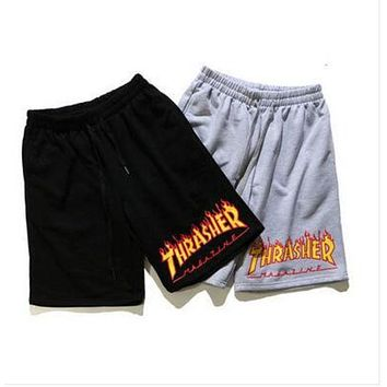 Thrasher Summer Sports Beachwear Cotton knit printed shorts F