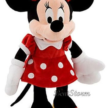 "Licensed cool Disney Store 18"" Classic Minnie Mouse Plush Toy Stuffed Doll Red Polka Dot Dress"