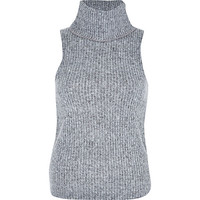 River Island Womens Grey fluffy ribbed turtle neck top
