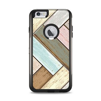 The Zigzag Vintage Wood Planks Apple iPhone 6 Plus Otterbox Commuter Case Skin Set