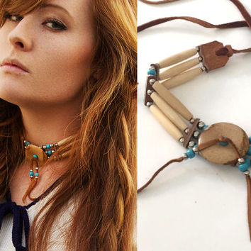 Deerskin Leather and Jasper Bone Choker | Authentic Bone Beads Stones Boho Chic Tribal Native American Ceremonial Turquoise Choker Necklace