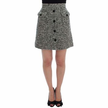Dolce & Gabbana Gray Cashmere Bubble Above Knee Skirt