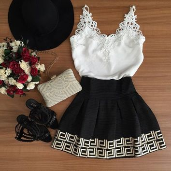 Casual V-Neck Floral Lace Strap Mini Dress