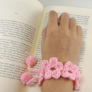 Pink Flower Bracelet - Crochet Bracelet - Knitted Bangle - Fiber Wristband - Yarn Bracelet - Boho Bracelet - Pompom Jewelry - Gift for her