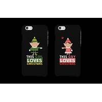 This Guy and Girl Loves Christmas Cute Matching Elf Couple Phone Cases (Set)