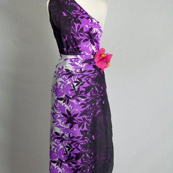 Vintage 1980's Purple Aloha Hawaiian Sarong Wrap Skirt Dress Pareo