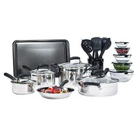 25 Piece Nonstick Stainless Steel Cookware Pots and Pans Set w Dutch Oven, Storage Containers n Cooking Tools
