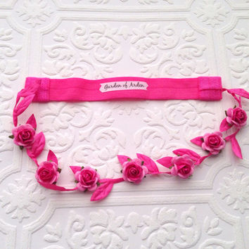 The Hot Pink Grecian Pixie Crown- Your Rosebud Color Choice