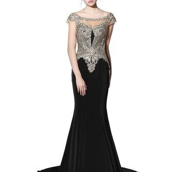 Clearbridal Women's Sheer Bodice Mermaid Prom Dress Evening Gown CLX006