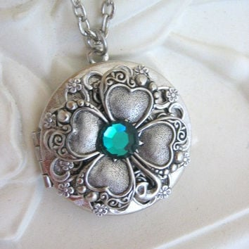 Irish Shamrock, Locket, 4 Leaf Clover, Silver Locket Necklace, Celtic Pendant, Celtic Locket, Irish Jewelry, Celtic Necklace, Irish Necklace