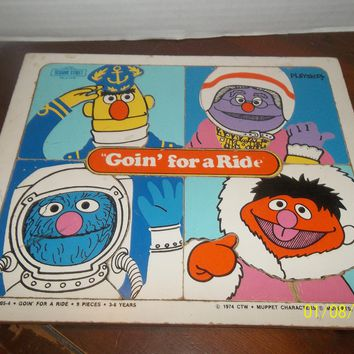 vintage 1974 muppets sesame street goin' for a ride wooden frame tray puzzle