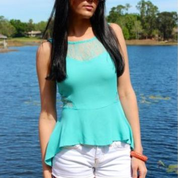 The Lace Side of Mint Top
