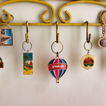 Vintage Travel Souvenir Key Chains | United States | Texas | Virginia | Chicago | North Carolina | Miami | Pittsburgh