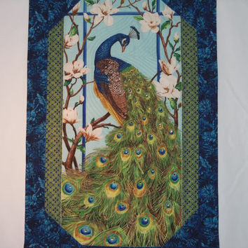 Fiber Art , Wall Hanging , Wall Art , Room Decor , Swarovski Crystals , JEWELED  PEACOCK  FANTASY  Quilted