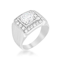 Men's Two-tone Finish Cubic Zirconia Ring, size : 13