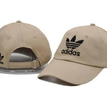 Khaki Adidas Women Men Sport Sunhat Embroidery Baseball Cap Hat