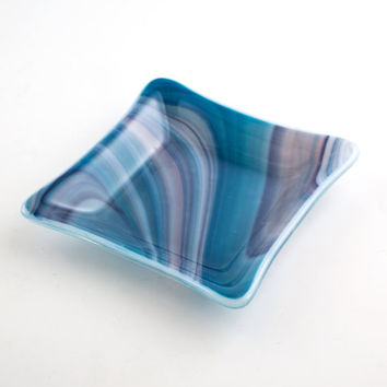 Fused Glass Dish, Blue Swirls, Jewelry Holder, Home Decor, Decorative Bowl, Catch All, Trinket Tray, Home Accessories, Unique Gifts for Her