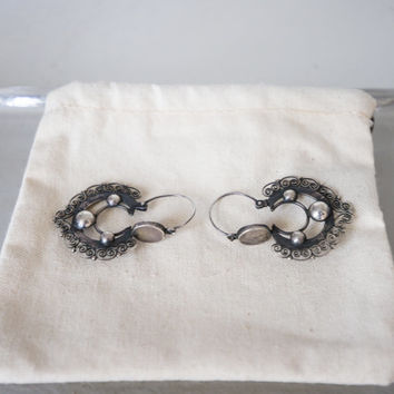 Victorian Mexican Guajacan Silver Earrings