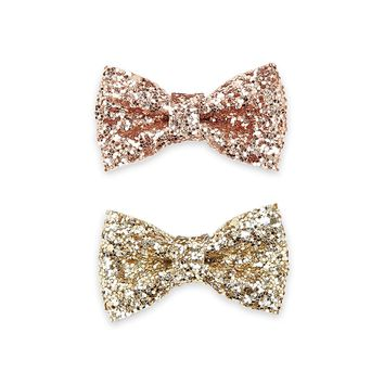 Sequin Bow Hair Clip Set