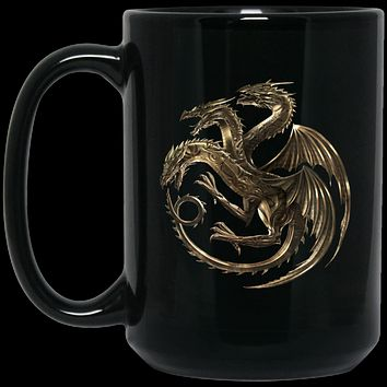House Targaryen Gold Dragon Sigil v2 BM15OZ 15 oz. Black Mug