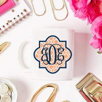 Monogrammed Mug With Trellis Design