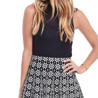 Go With The Flare Floral Sweater Knit Skirt