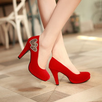Rhinestone Pumps Love Pattern High Heels Platform Shoes Woman