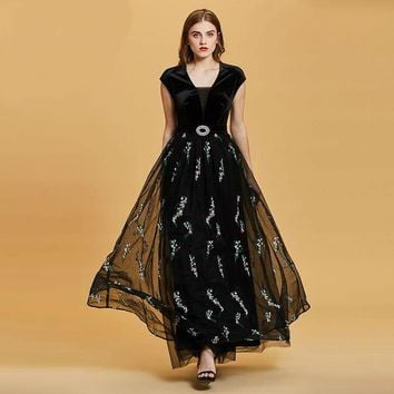 Embroidery evening dress black v neck cap sleeves floor length a line gown women beaded formal long evening dresses