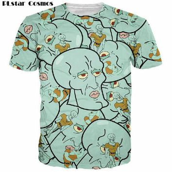 PLstar Cosmos Harajuku tshirt Cartoon Handsome Squidward Printed 3d t shirt men/women Short Sleeve Tops funny t-shirt size S-5XL