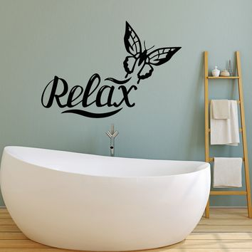 Vinyl Wall Decal Relax Butterfly Bathroom Spa Salon Beauty Art Decor Stickers Mural Unique Gift (ig5220)