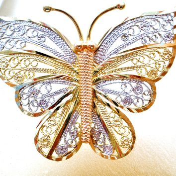 14K Tri Gold Filigree Butterfly Necklace Vintage