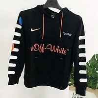 NIKE X OFF-WHITE New Popular Women Men Casual Big Logo Print Long Sleeve Hooded Sweater Top Black I13113-1