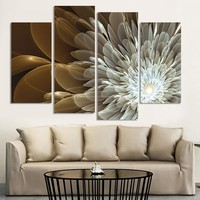4 Pieces Wealth And Luxury Golden Flowers Floral Canvas Wall Art Picture Print