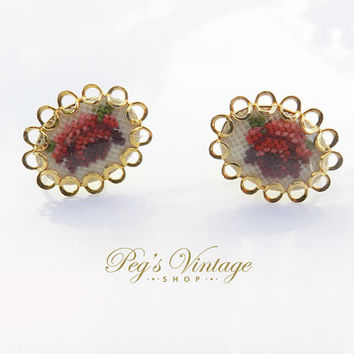 Petit Point Needlework Earrings, Red Floral Rose, Gold Screw-Back Earrings