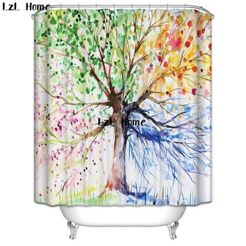 LzL Home Colorful Tree Of Life Shower Curtains Eco-friendly Polyester Fabric Modern Design Print Waterproof Bathroom Curtains