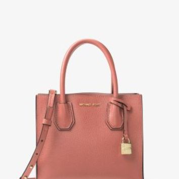 Mercer Medium Bonded-Leather Crossbody Messenger | Michael Kors
