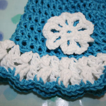 Baby crochet summer hat sun beanie hat crochetyknitsnbits hand made baby girl clothes peacock blue white Bamboo shower layette 0 to 6 months