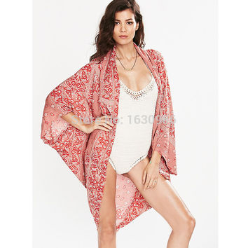 New! Vintage Bikini Cover Up Hot Sale Women Beach Wrap High Quality Printed Swimsuit Cover Up