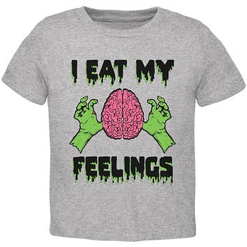 Halloween I Eat My Feelings Zombie Brain Toddler T Shirt