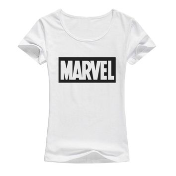 Brand Marvel t Shirt Women tops tees Top quality  elastic cotton Casual Girls T-shirt marvel t shirts Woman A37