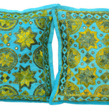 Jaipuri Fine Embroidery 2 Piece Cushion Covers, Indian Design Cushion Covers, Asian Home Decor, Handmade Decoration, Eastern Home Decor