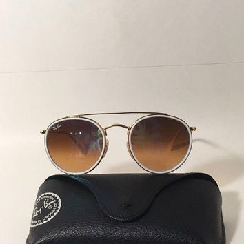 LMFON AUTHENTIC RAY-BAN RB 3647-N 001 ROUND DOUBLE BRIDGE GOLD/Brown ITALY 51-22 145