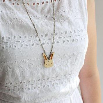 Laser Cut Wooden Bunny Rabbit Necklace